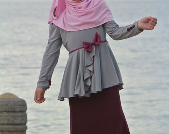 Lily Dress (Silver and Maroon)