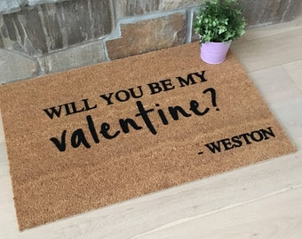 Personalized Valentine's Day Gifts, Gifts for Her, Gifts for Girlfriend, Valentine's Day Doormat, Personalized Gifts
