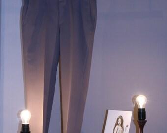 80s pants true vintage S / m beige Brown creases high waist trousers standard core