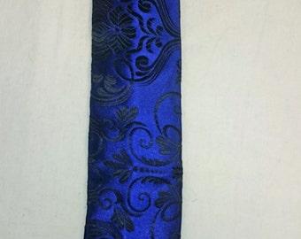 Sapphire and Black Scroll Necktie, Blue Brocade Necktie, Blue and Black Necktie, Brocade Necktie