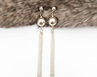 Silver Tassel Earrings, Tassel Earrings, Fringe Earrings, Bridal Earrings, Long Earrings, Stylish Earrings, Bridesmaid Earrings,Gift for her