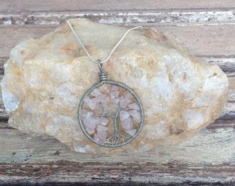 Rose Quartz Tree Of Life Pendant-Handmade-Pendant-Necklace-Pink
