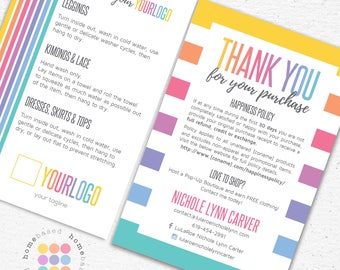 Thank You Care Card Postcard designed for Consultants | 4x6 Print at Home | Care Instructions | New Happiness Return Policy | DIY
