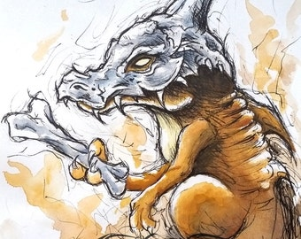 Original Watercolour & Ink Pokemon Cubone A6