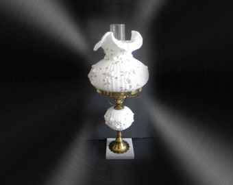 Fenton Cabbage Rose design table lamp with top shade and globe stem - marble base