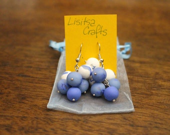 White and Blue Earrings - Polymer Clay