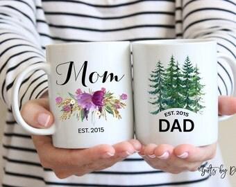 Mom dad mug set, coffee mug, dad gift, mom gift, christmas gift, established mug,baby announcement pregnancy, mug, holiday gift, m-101-102