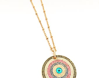 Gold Bulls Eye Necklace
