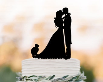Bride and groom wedding cake topper with cat, birthday cake topper,  anniversary gift, funny wedding cake topper, family cat cake topper