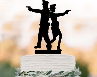 police Wedding Cake topper, police couple silhouette wedding cake decor