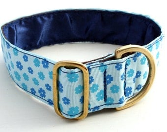 "Luxury Grosgrain Collar! 1.5"" wide.  'FLORALIE' ! Greyhound,Whippet,Saluki,Lurcher,Galgo,Wolfhound,Suitable Sighthounds and ALL Dogs!"