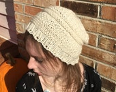 Slouchy Thin Knit Beanie, Patterned, Solid Color Options, Shown in Natural