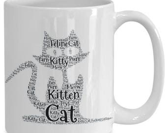 CAT LOVER GIFT! Funny cat made of kitten / cat words in the shape of a feline gracing 15 oz white ceramic coffee cup / tea cup / mug!