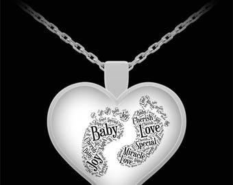 "Heart Necklace Baby Feet Prints Celebrate a Pregnancy or Birth of a Newborn Foot Print Silver Necklace! Made in the USA!  Quality 22"" Chain!"