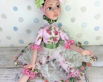 "Art Doll Summer Fairy ""June"", OOAK Art Doll, Polymer Clay Doll, Fabric Art Doll, Textile Art Doll, Hand Made Art Doll, Collectible Art Doll"