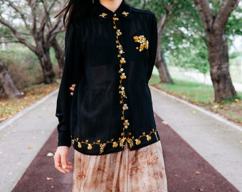 Sheer black blouse with gold floral patterns / Japanese vintage blouse / Black vintage top / Sheer black / Blouse with collar / Size S-M