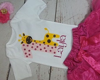 Pink and Gold Birthday Tutu Outfit - Girls Pink and Gold Ribbon Tutu Outfit - Ribbon Trim Tutu Set - Giraffe Birthday Outfit