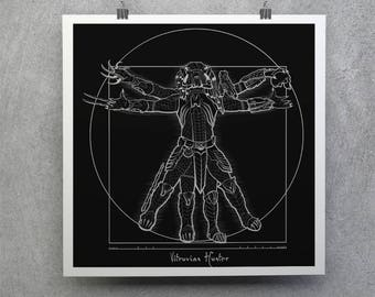 Vitruvian Predator T-shirt /  Predator Tee / Yautja / Sci-fi  Movies /  Leonardo / Free Shipping worldwide
