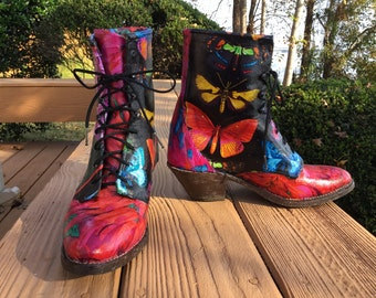 Butterfly Ropers Up-cycled Leather boots women's size 7 1/2. Unique decoupage kitschy lace up ankle boot  bride bridesmaid vivid floral