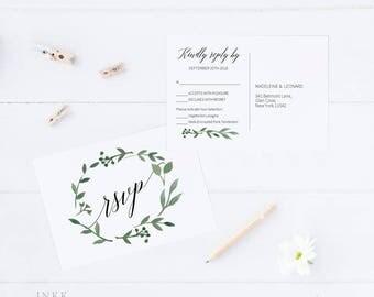 RSVP Postcard, RSVP template, Wedding rsvp, rsvp Postcard, wedding rsvp cards, rsvp printable, Response Card, PDF Instant Download #E023