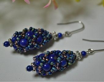 Lapis lazuli earrings, Natural stone lapislazuli earrings, Birthstone earrings, Royal blue earrings, Gemstone, , Boho earrings, Birthday