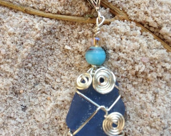 Wired Wrapped Blue Beach Glass Pendant