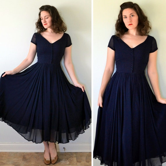 Mysterious Depths Dress | vintage 40's midnight blue silk chiffon evening gown | xs small