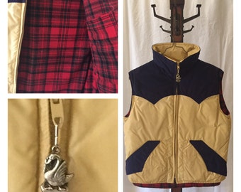 Vintage ski vest puffer khaki tan Navy Blue cordurory Red plaid Lumberjack M made in USA