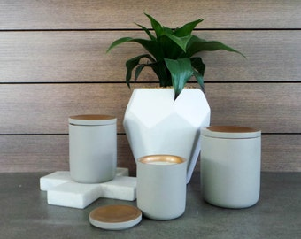 Medium Lux Concrete Range - Copper or Gold - Natural Soy Wax - Container Candle