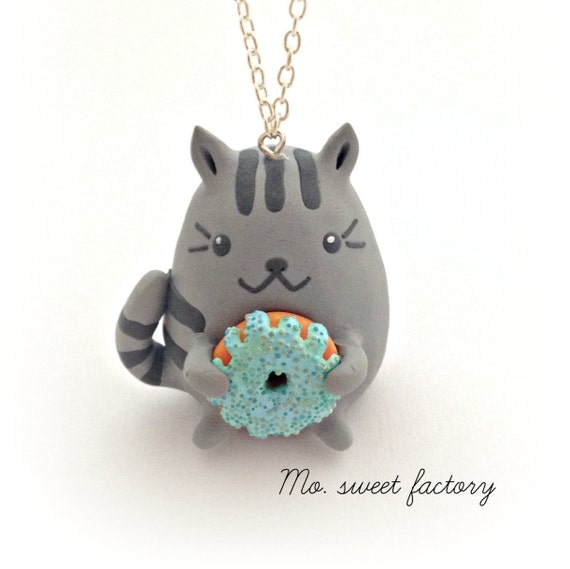 Handmade Pusheen Cat & Cake Necklace Charm