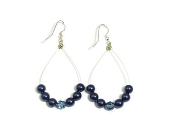 """Earrings, Blue Swarovski Pearls and Crystals on Sterling Silver Wire, 2 3/4"""""""