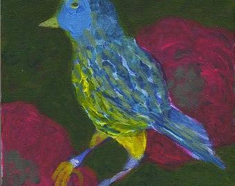 Petit Oiseau Bleu - Little blue bird - Original Painting
