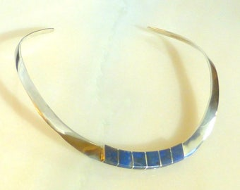 Sterling Silver and Lapis Inlay Torc Collar Necklace