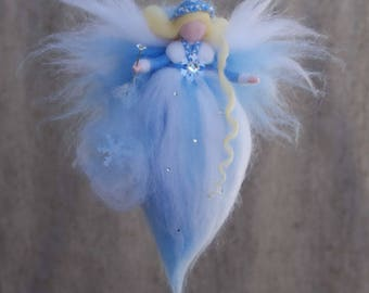 Fairy felt winter,Fairy felt,Ornament fairy,Fairy magic, ,Fairy needle felted,Waldorf doll felt,Gift for girl