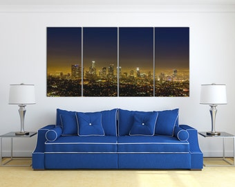 Los Angeles View of Downtown from the Hollywood Hills Large 4 Panel Leather Print/Los Angeles Night/Wall Art/Wall Decor/Better than Canvas!