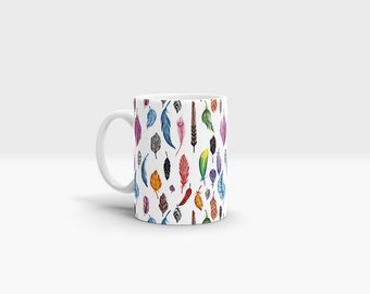 Feathers Mug. 11oz Ceramic Mug.