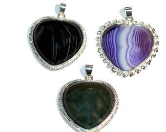 Heart Pendant Necklace Pendant Choose Purple Green or Black Heart Necklace Pendant