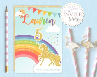 Girls Rainbow Unicorn Invite | Birthday Party Invitation | Pony | Rain Drops | Digital Download | Customised Personalised | Printable