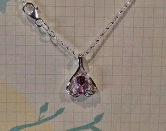 Purple Tourmaline Gemstone Solid Sterling Silver Necklace