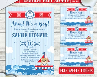 PRINTABLE or PRINTED    Nautical- Ahoy It's a Boy   Baby shower invitation   FREE raffle tickets   Any occasion, any wording!!