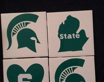 Michigan State Ceramic Coasters