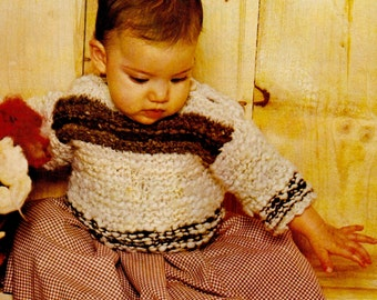 Vintage Baby Sweater Knitting Pattern