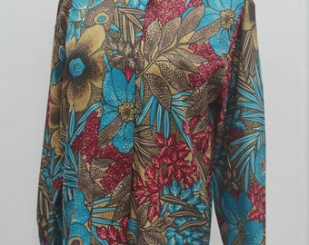 SMITH & JONES Vintage Smith And Jones Floral Abstract Print Union Made Made In USA Button Down Shirt Size 10