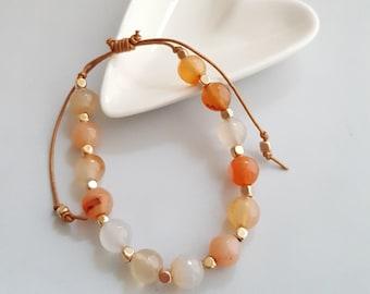Carnelian Bead Bracelet,Marble Bracelet,Stone Bead Bracelet,Bead Bracelet,Multi Color Bead Bracelet,Boho Marble Bead Bracelet,Gem Bracelet