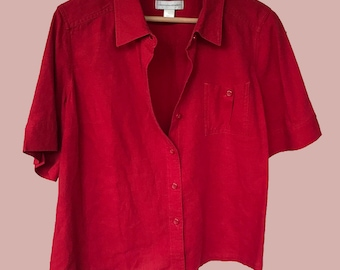 Minimalistic Red Linen Button-Down Blouse