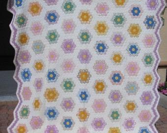 King Size 'Grandmother's Flower Garden' Vintage Quilt/ 1930's Handmade Feed Sack Fabrics Antique Quilt #17854