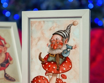 GNOME jumps on fungi-watercolor painting