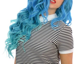 Two Tone Blue Ombre Curly Lace Front Wig