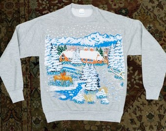 Kitschy WINTER SWEATER -- Fuzzy and Warm ! -- size S/M,  L/XL available !