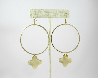 Large Gold Hoops with Quatrefoil Dangle Earrings